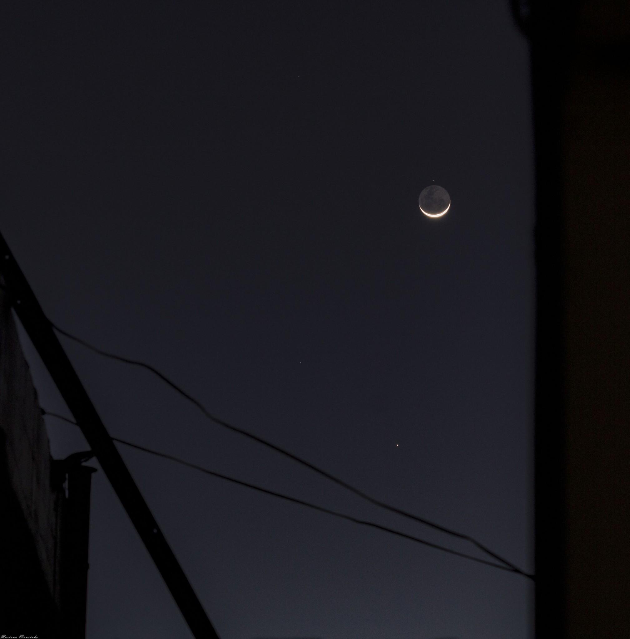 Nu Piscium + Luna + Mercurio