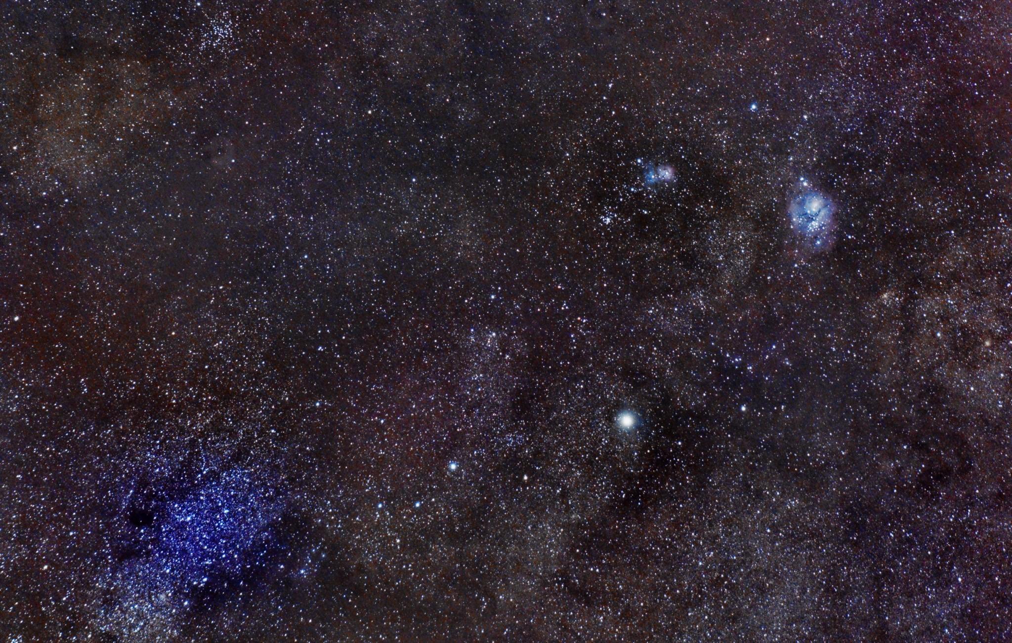 La Nebulosa Trífida y la Nebulosa de la Laguna con Saturno